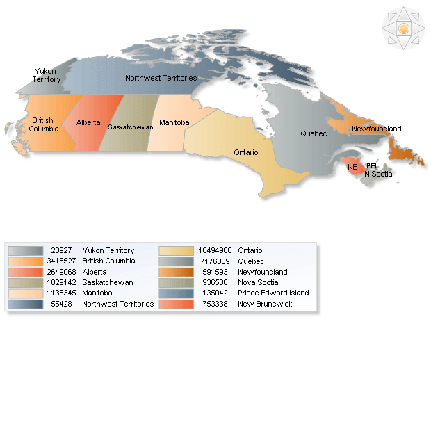 Canada population map