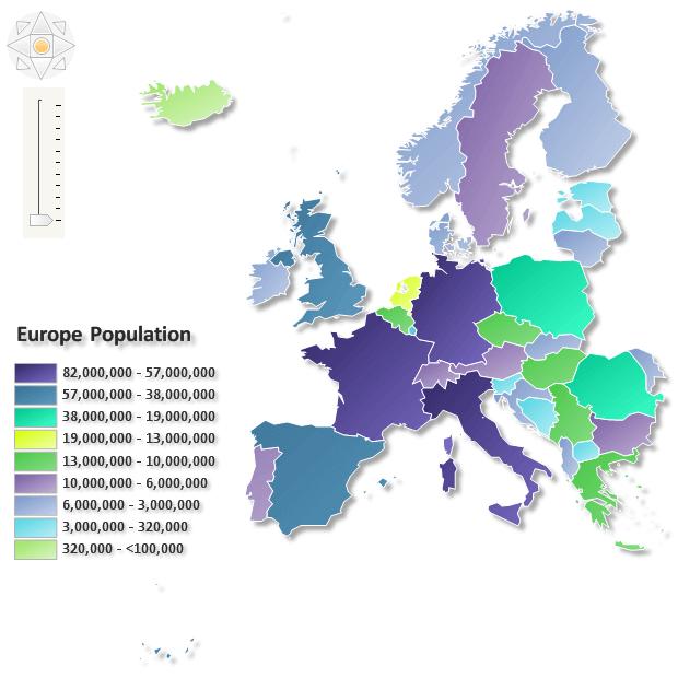 Europe population map