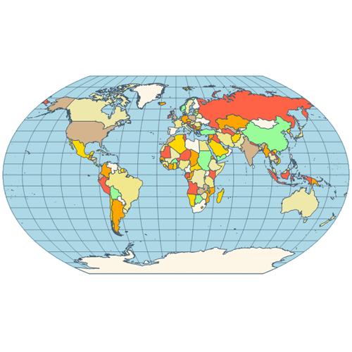 Map kavrayskiy vii projection