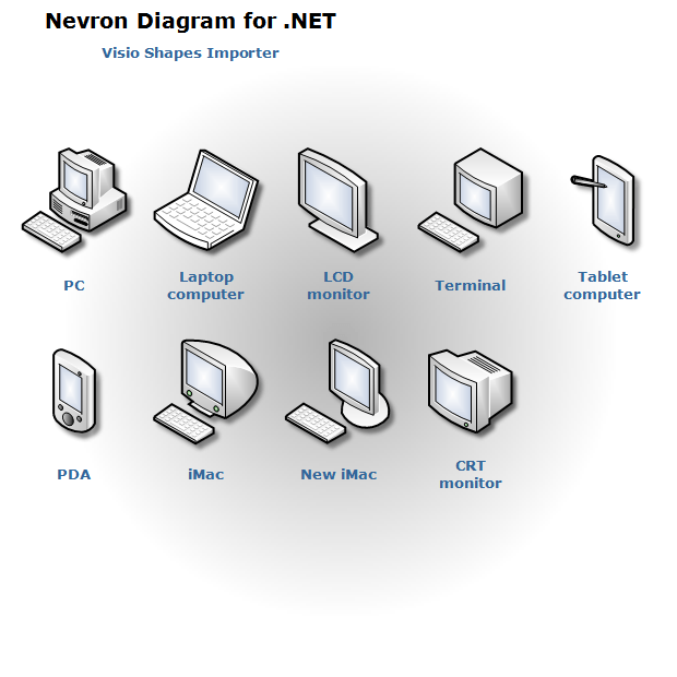 Nevron diagram visio shapes computers and monitors