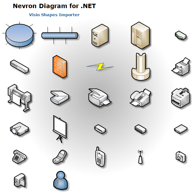 Nevron diagram visio shapes networks and peripherals