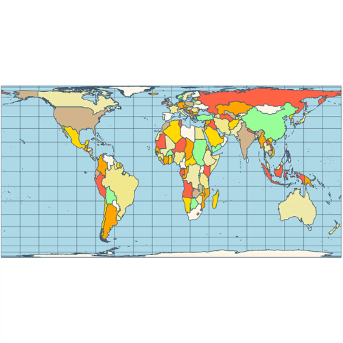 Map cylindrical equal area projection