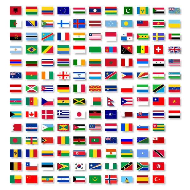 Country flag shapes