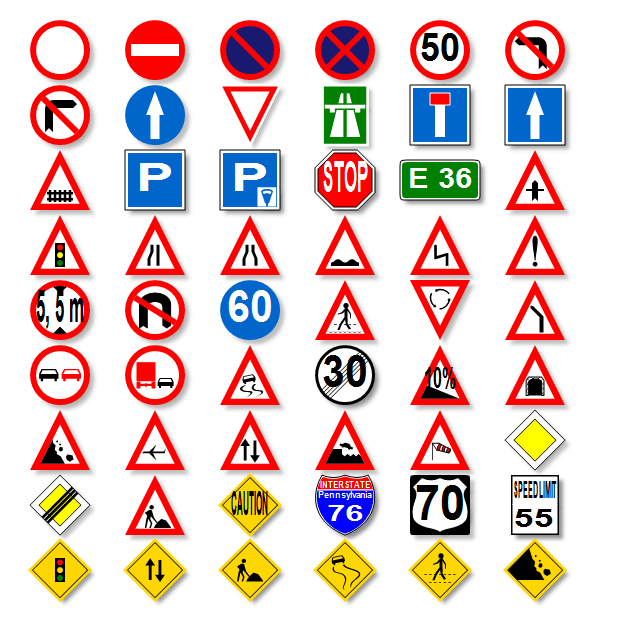 standard sign shapes and their assigned meanings