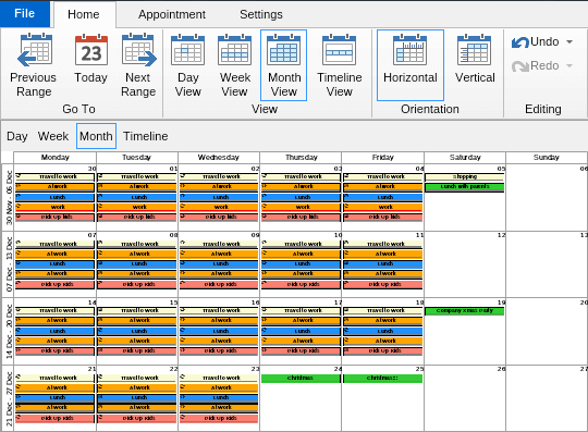 NOV Schedule for .NET Screen shot
