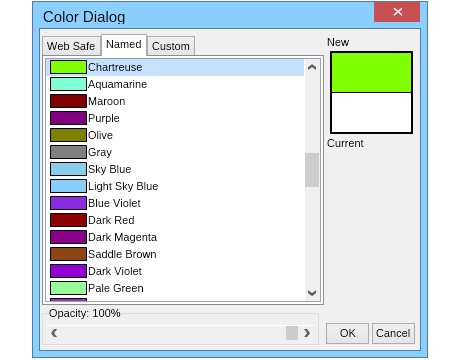 Color dialog named